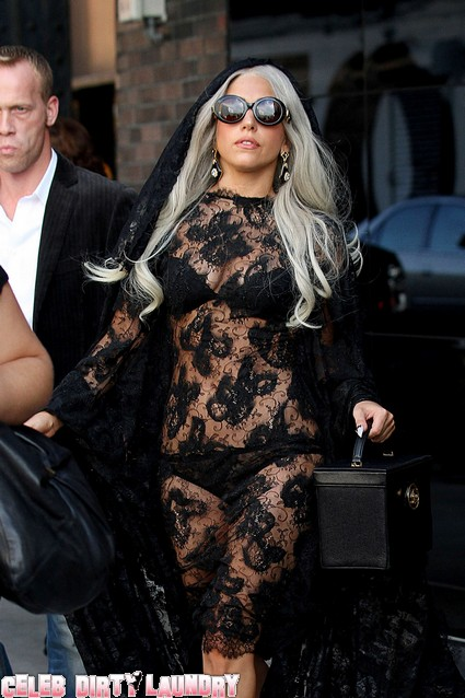 Lady Gaga Spotted Today Wearing A See-Through Dress - Photos