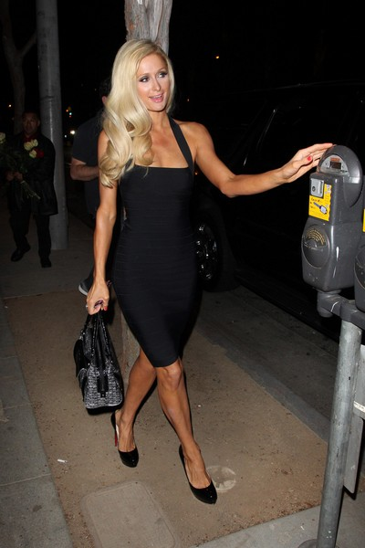 Paris Hilton Looks Fabulous In A Slinky Black Bandage Dress - Photos