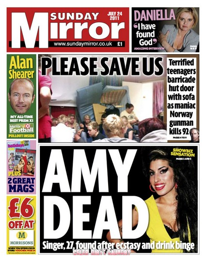 Sunday Mirror: Amy Winehouse's Death Caused By Ecstasy & Drink Binge