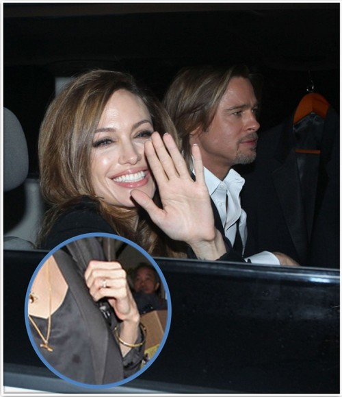 Angelina Jolie & Brad Pitt Secretly Married In Turks and Caicos!  Is This Her Wedding Band (Photo)