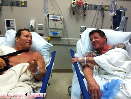 Arnold Schwarzeneggar and Sylvester Stallone Are Hospital Bed Buddies (Photo)