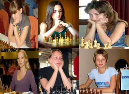 Blondes Versus Brunettes At The Chessboard -  Beauty But With Big Brains!