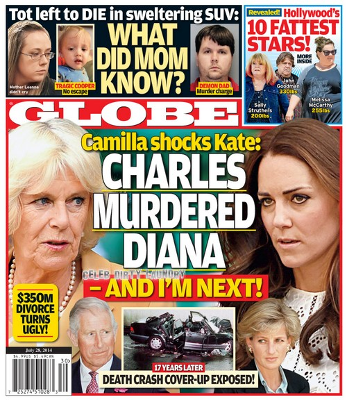 GLOBE Magazine Reports Camilla Parker-Bowles Tells Kate Middleton Prince Charles Murdered Princess Diana, Worried She's Next (PHOTO)