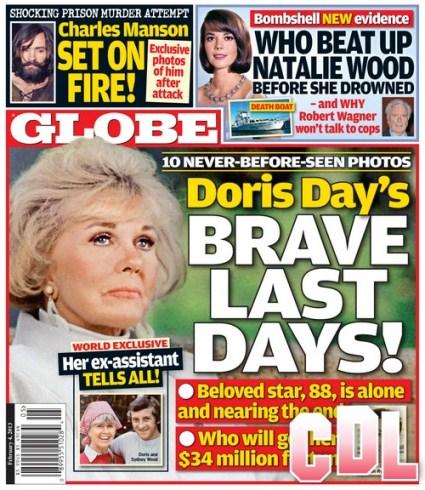 GLOBE: Natalie Wood Beaten Up, Charles Manson Set On Fire, Doris Day's Health Issues (Photo)