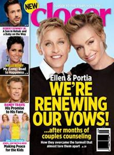 Ellen Degeneres and Portia de Rossi Divorce Denial: Renewing Marriage Vows After Counseling, Cheating, Rehab? (PHOTO)