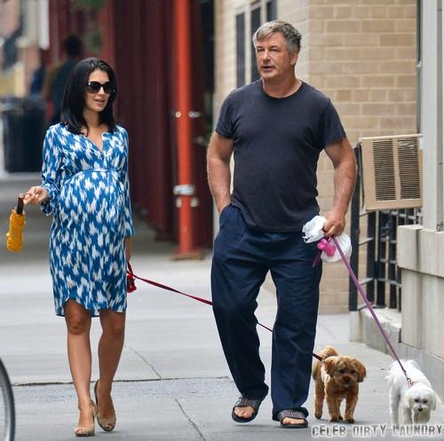 Alec Baldwin & Hilaria Take Their Dogs For A Walk