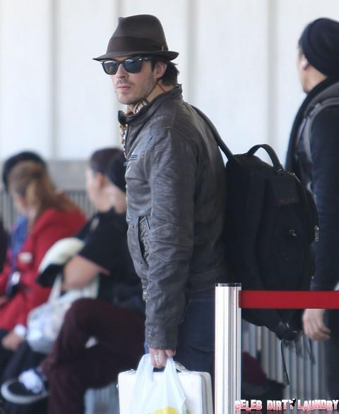Nina Dobrev And Ian Somerhalder Departing On A Flight At LAX