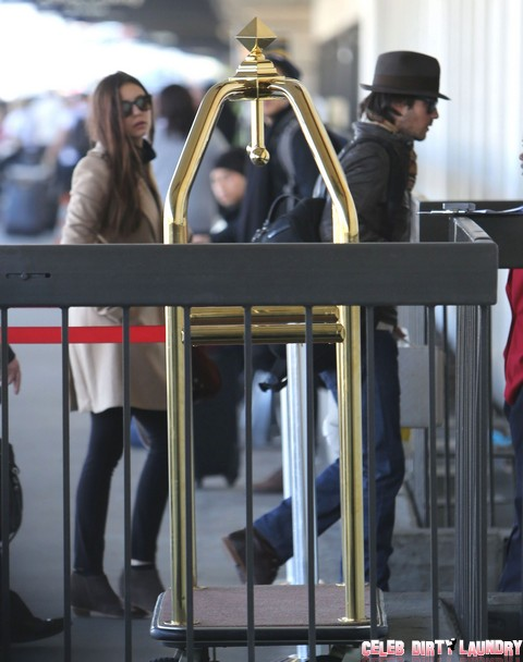 Nina Dobrev And Ian Somerhalder Departing On A Flight At LAX