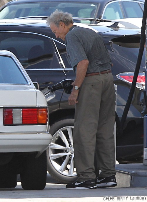 Semi-Exclusive... Clint Eastwood Dropping Off A Mystery Woman At LAX