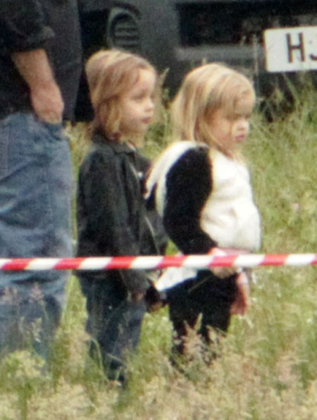 Knox And Vivienne Jolie-Pitt Visit Angelina Jolie On Maleficent Set (Photos) 0627
