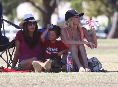 Brandi Glanville Watching Son Mason's Soccer Game