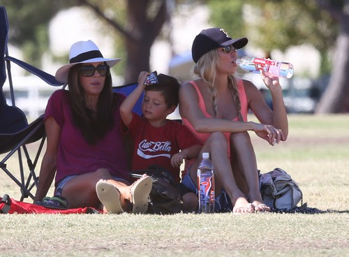 Brandi Glanville Watching Son Mason's Soccer Game