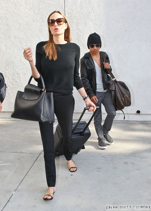 Angelina Jolie Amp Son Maddox Arriving On A Flight At Lax