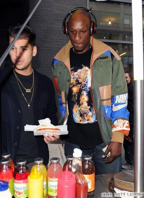 Lamar Odom And Rob Kardashian Stop For Treats On The Street