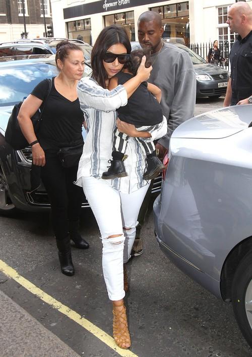 Kim Kardashian, Kanye West & North Check In At Claridge's Hotel