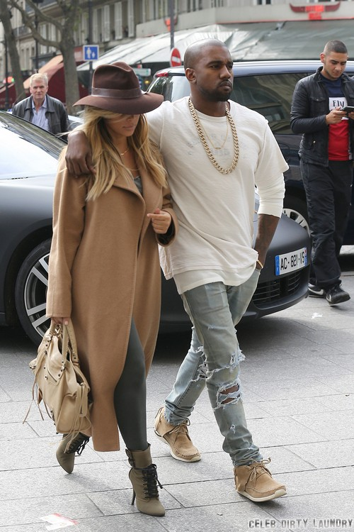 Kim and Kanye Arrrive in Paris
