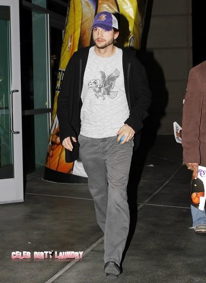 Ashton Kutcher Plays Tag With Lorene Scafaria While Demi Moore Still Too Skinny