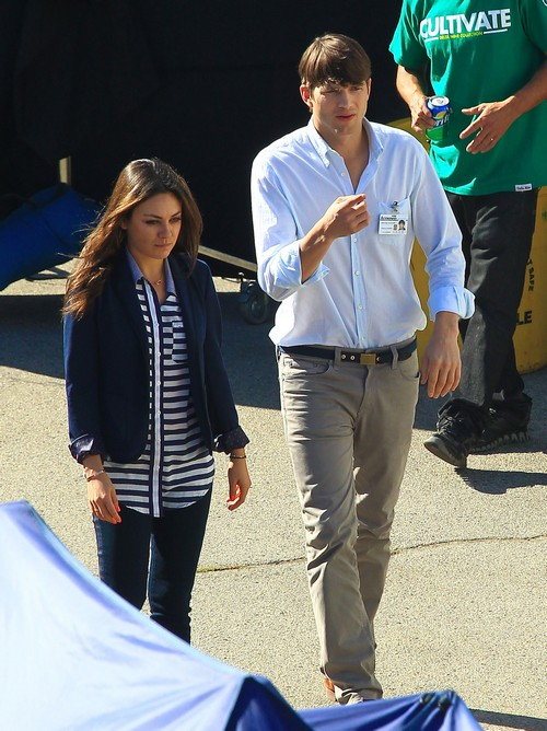 Exclusive... Mila Kunis Visits Ashton Kutcher On Set