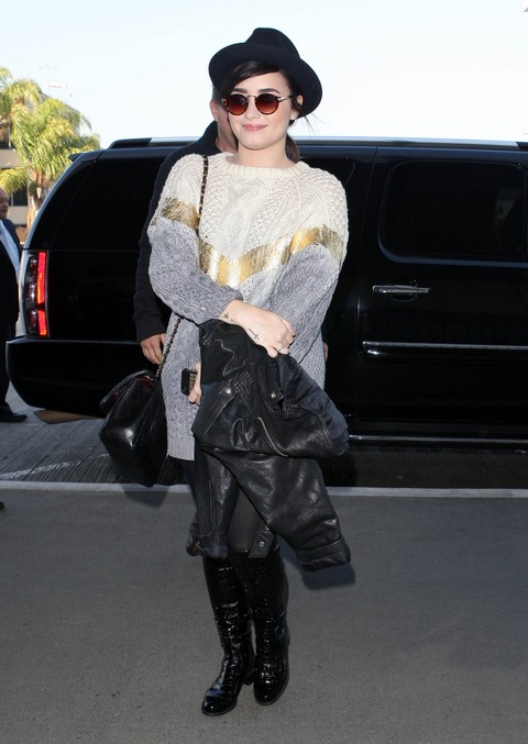 Demi Lovato Departing On A Flight At LAX