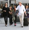 The Jolie-Pitt Family Arriving On A Flight At LAX