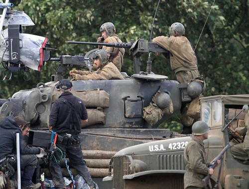 """Brad Pitt & Shia LaBeouf Film """"Fury"""""""