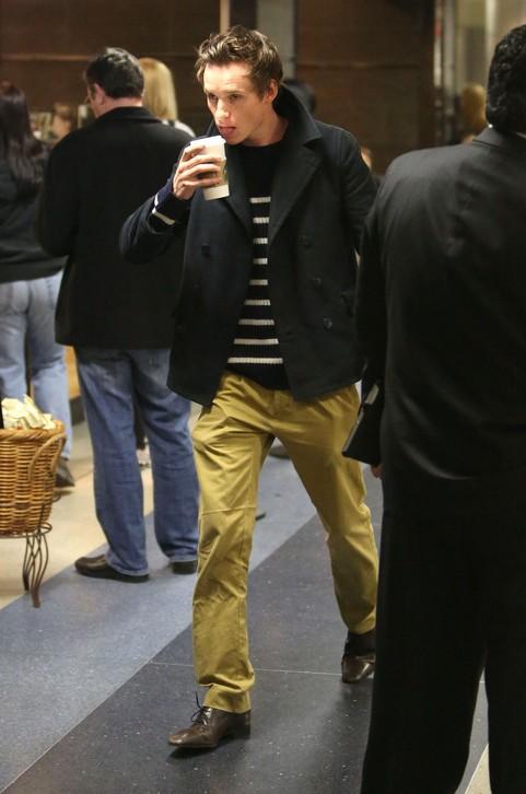 Eddie Redmayne Arriving On A Flight At LAX