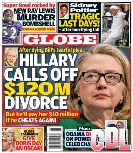 GLOBE: Hillary Clinton Calls Off Divorce After Bill Clinton's Tearful Pleading (Photo)