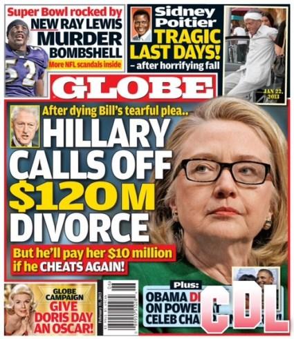 GLOBE: Hillary Clinton Calls Off Divorce After Bill Clinton's Tearful Pleading (Photo)