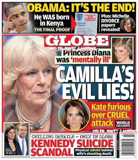 Globe: Kate Middleton Furious As Camilla Parker Bowles Calls Princess Diana Mentally