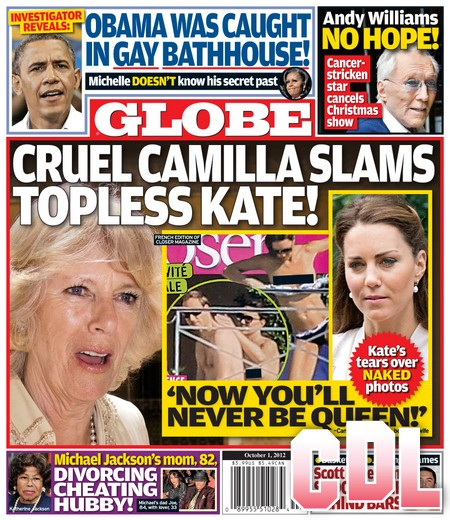 GLOBE: Topless Kate Middleton 'Will Never Be Queen Now' Says Camilla Parker-Bowles