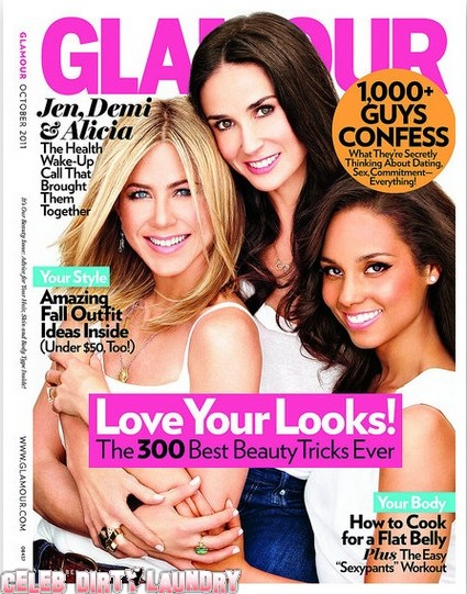 Holy Photoshop Batman: Jennifer Aniston, Demi Moore & Alicia Keys Cover Glamour