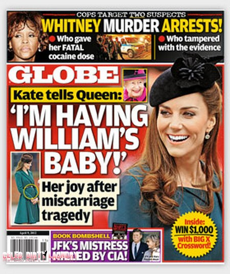 Globe Magazine: After Miscarriage Tragedy Kate Middleton Is Finally Pregnant!