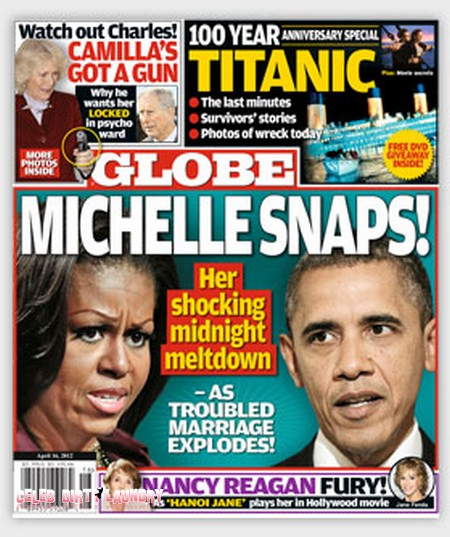 Globe Magazine: Michelle Obama Snaps As Her Troubled Marriage Explodes (Photo)