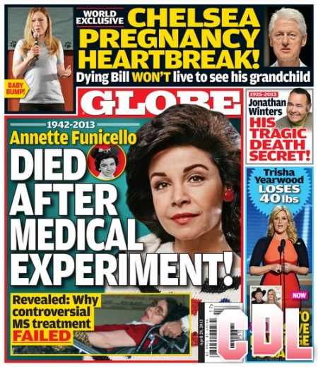 GLOBE: Annette Funicello Died After Medical Experiment (PHOTO)