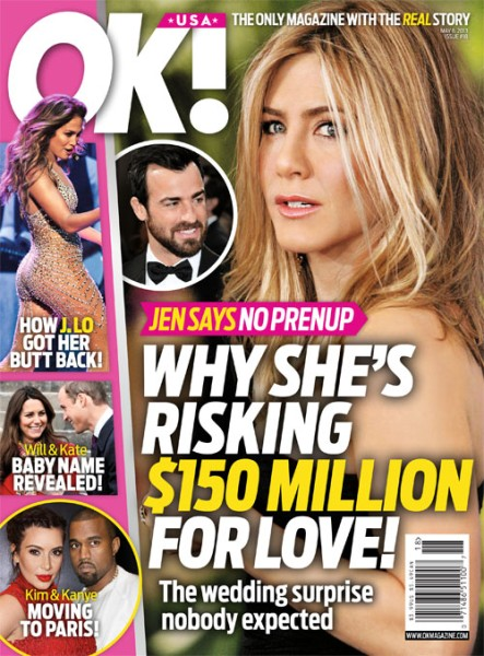 Jennifer Aniston Says No To A Prenup - Why Is She Risking $150 Million Fortune? 0424