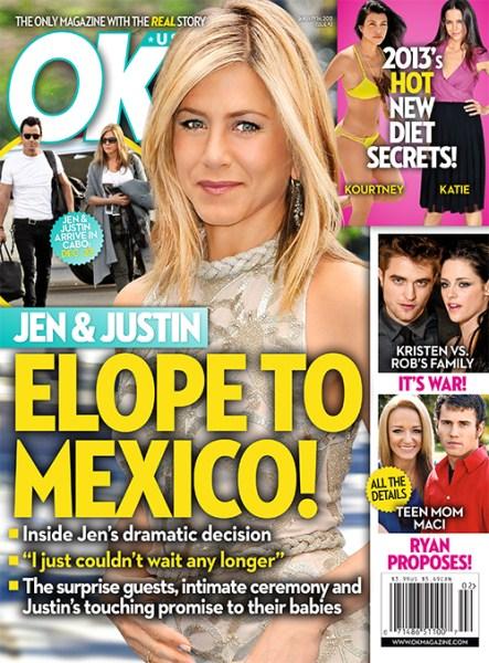 Jennifer AnistoJennifer Aniston and Justin Theroux Elope To Mexico For A Secret Wedding - Reportn and Justin Theroux Elope To Mexico