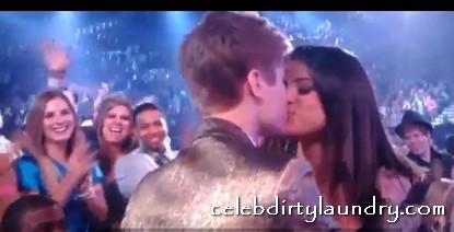 Justin Bieber Kisses Selena Gomez, Her Dress Slips - Video & Pic