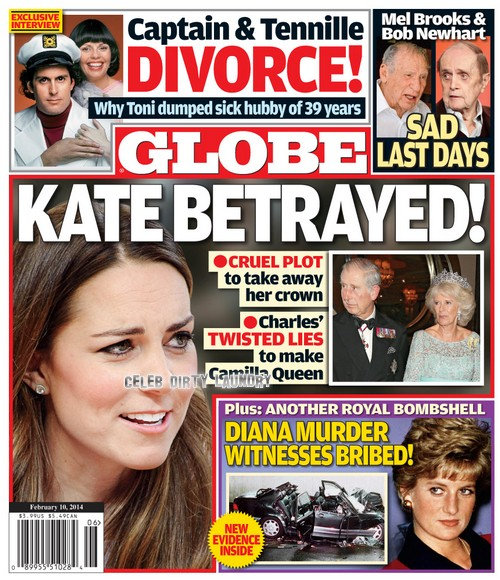 GLOBE: Kate Middleton and Prince William Betrayed by Prince Charles: Makes Camilla Parker-Bowles Queen in Royal Power Struggle (PHOTO)