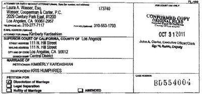 Kim Kardashian & Kris Humphries Divorce Documents (Photo)