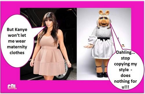 Kim Kardashian Pregnant Maternity Style Scandal – Looks Like Miss Piggy? (Photos)