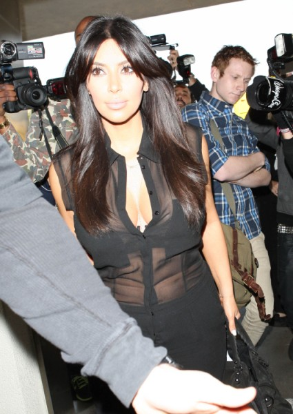 Kim Kardashian Flashes Baby Bump In Sheer Top, Classic Or Catastrophic? 0208