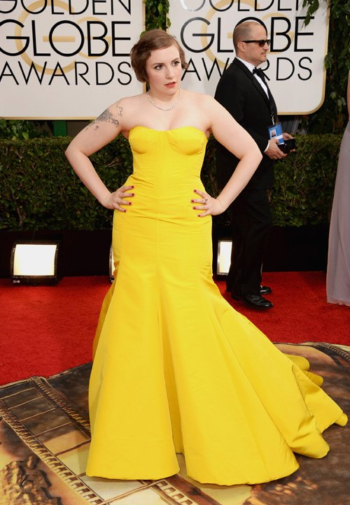 Leonardo DiCaprio Disgusted by Lena Dunham and her Tight Yellow Golden Globes Dress?