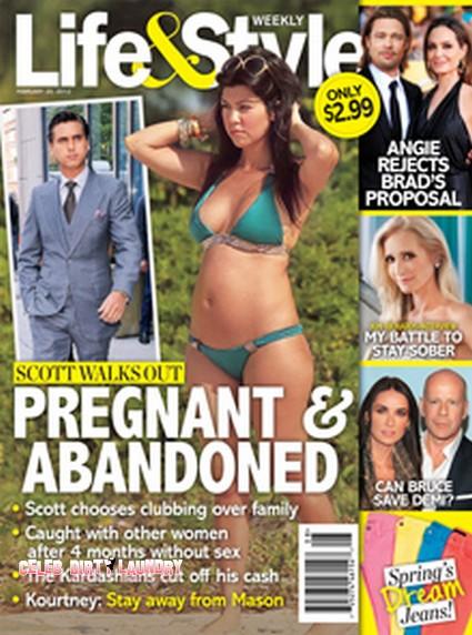 Kourtney Kardashian Pregnant & Abandoned As Scott Disick Walks Out (Photo)
