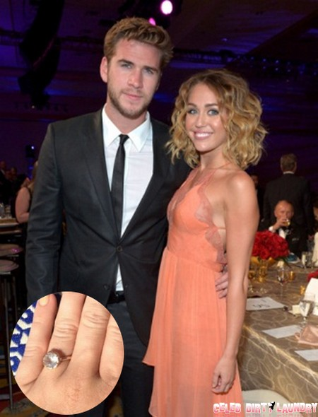 Miley Cyrus Appears With Liam Hemsworth Wearing  Engagement Ring