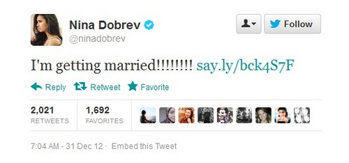 Ian Somerhalder and Nina Dobrev Marriage Announcement on Twitter?!