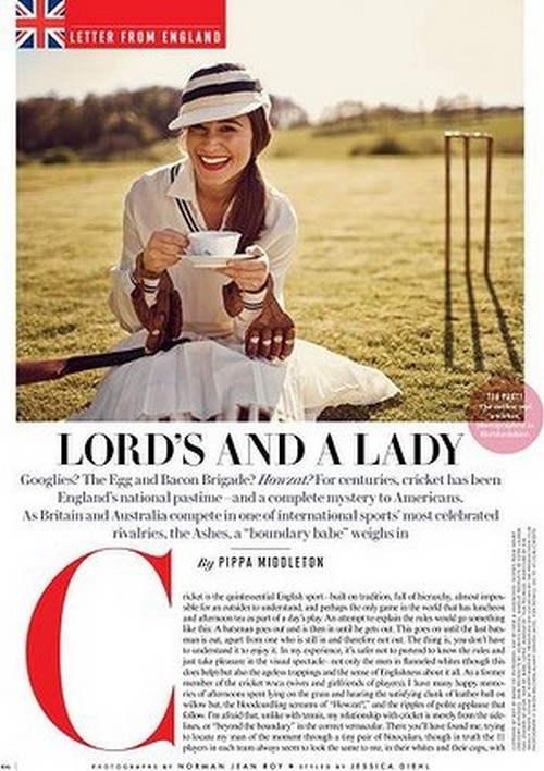 Pippa Middleton Vanity Fair: Tries To Make Us Understand Cricket and Fails But Looks Amazing (Photos)