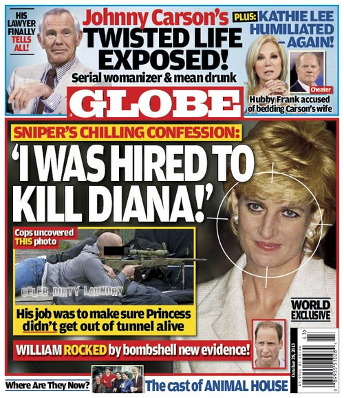 "GLOBE: Princess Diana's Assassin's Confession: ""I Was Hired To Kill Diana"" (PHOTO)"