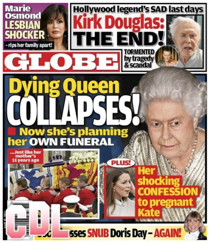 GLOBE: Kate Middleton Hears Queen Elizabeth's Shocking Confession - Dying Monarch Collapses (PHOTO)