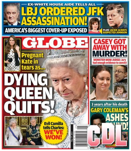 GLOBE: Dying Queen Elizabeth Quits - Evil Camilla Parker-Bowles Tells Prince Charles We've Won! (PHOTO)