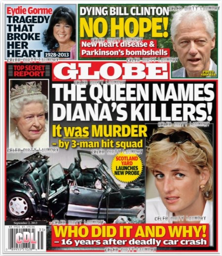 GLOBE: Queen Elizabeth Names Princess Diana's Killers: 3-Man Hit Squad Assassinated Diana in Cold Blood (PHOTO)